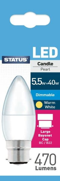 Dimmable LED Candle Bulbs B22 5.5W (40W) Watt 2700k Warm White Frosted Bulbs x 3